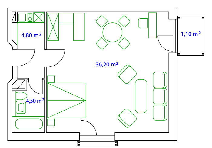 PLAN DOPPELAPARTMENT - 45 qm