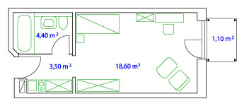 PLAN EINZELAPARTMENT - 27 qm